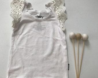 00- Flutter Sleeve Singlet- White