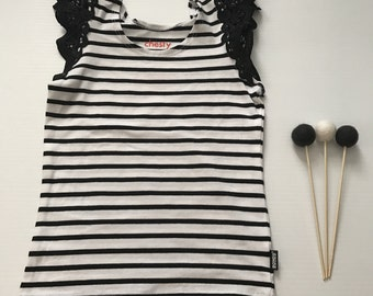 2- Flutter Sleeve Singlet- Black/White Stripe