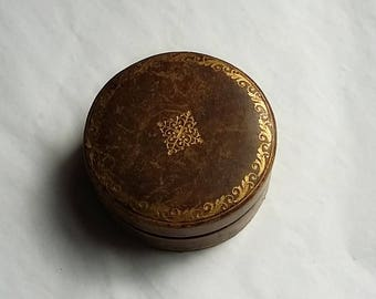 Vintage Dresser or Jewelry Small Round Covered Box Brocade Interior Italy