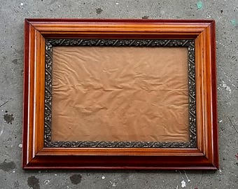 Gorgeous Victorian Picture Frame 10.5 x 15 inch Opening Wood w/ Floral Plaster Border