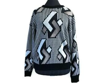 Vintage Sweater, 90s Sweater by OKJ Size M, Geometric Sweater, Cozy Sweater, Hipster Sweater, Medium Knit 1990s Oversized Sweater