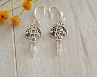 Silver spike earrings, Contemporary 925 Silver dangle earrings, boho/ bohemian rock earrings, free people style earrings, 925 silver jewelry