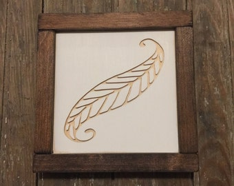 Feather Mini Engraved Wood Sign