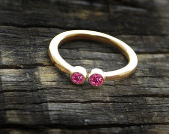 Round Cut Pink Tourmaline Yellow Gold Ring,  Tourmaline 14K Yellow Gold Ring, Stacking Engagement Ring,  Delicate Tourmaline Gold Ring