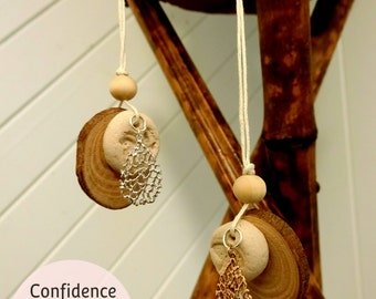 Natural wood essential oil diffuser necklace airdry clay wooden bead leaf chain aromatherapy DIY handmade