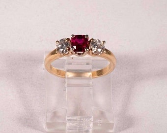 18K Yellow Gold Ruby and Diamond Ring, size 3.5
