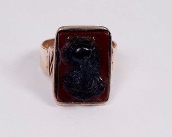 10K Yellow Gold Mens Antique Cameo Ring, Size 13
