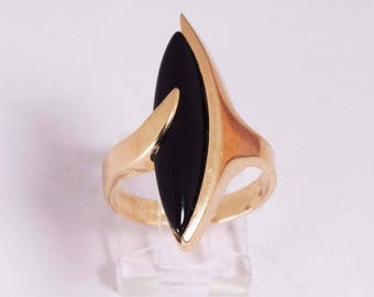 14K Yellow Gold Marquise Black Onyx Ring , size 9