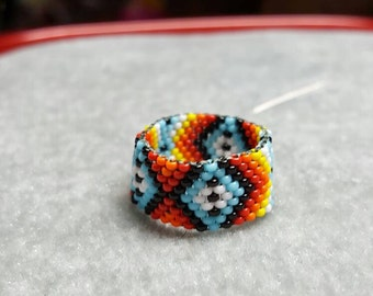 Handmade Native American Beaded Ring Band Size 6 1/2