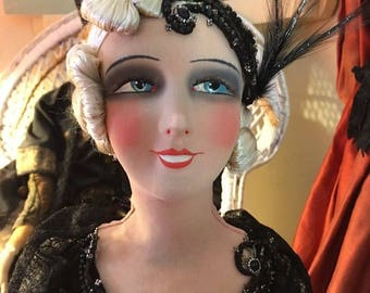 1 sold  Rare smiling French cabaret dancer Deco Boudoir doll Flapper original 1920 VAMP