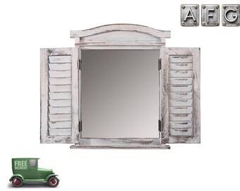 Wandspiegel Fenster mit Fensterläden Shabby Weiß