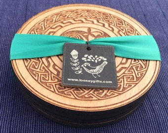 St.Patricks Day Celtic Coasters. Irish coaster set with Celtic designs.Knotwork, Book of Kells, Durrow, Celtic patterns.