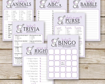 Purple Elephant Baby Shower Games Package - SEVEN printable Girl Baby Shower Games: Bingo, Price is Right, Purse Game - Instant Download