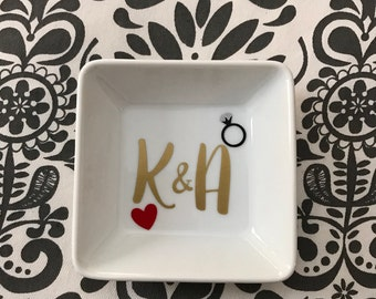 Personalized Initials Ring Dish Customized