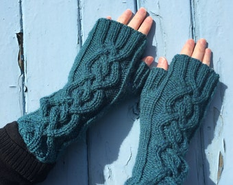 Teal Fingerless Mittens,Mittens,Mitts,Fingerless Gloves,Handknitted Mittens,Handknitted Gloves,Gloves,Cable Pattern Mittens,Wrist Warmers