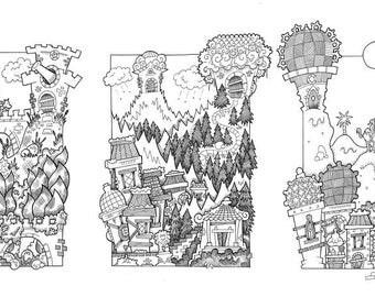 Set of Five Original Handmade Fantasy Landscape Illustrations