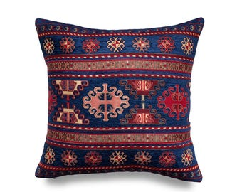 KILIM PILLOW Cover - Turkish Pillow -Tribal Pillow Cover -Ethnic Pillow Cover -Geometric Pattern - Blue and Red Pillow -Kilim Throw Pillow