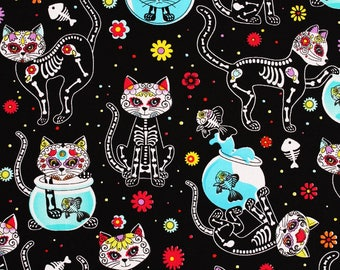 Black Skeleton Cats Kittens Fabric by Timeless Treasures Fabrics by the Half Yard