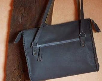 handbag leather gray and double with door sound currency
