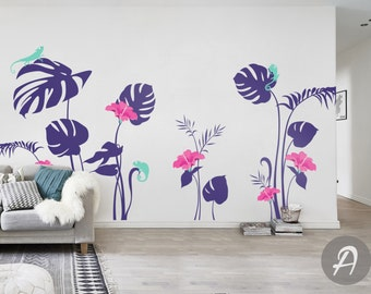 Flower wall decal Floral wall decal for girls room kids nursery wall decal sticker Hibiscus and Monstera leaves wall art decor AM009
