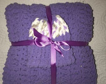 Purple Baby Blanket Crochet Set