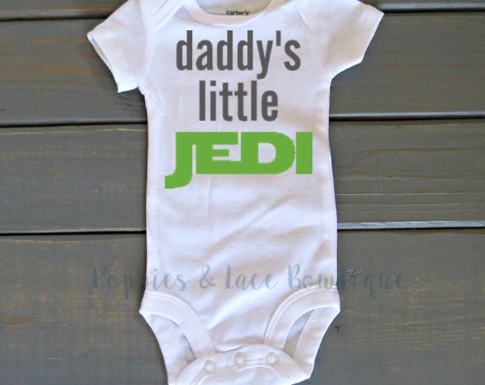 Daddy's Little Jedi Bodysuit, Star Wars Shirt, Unisex Kids' Clothing, Funny Bodysuit, Baby Shower Gift, Father's Day Gift