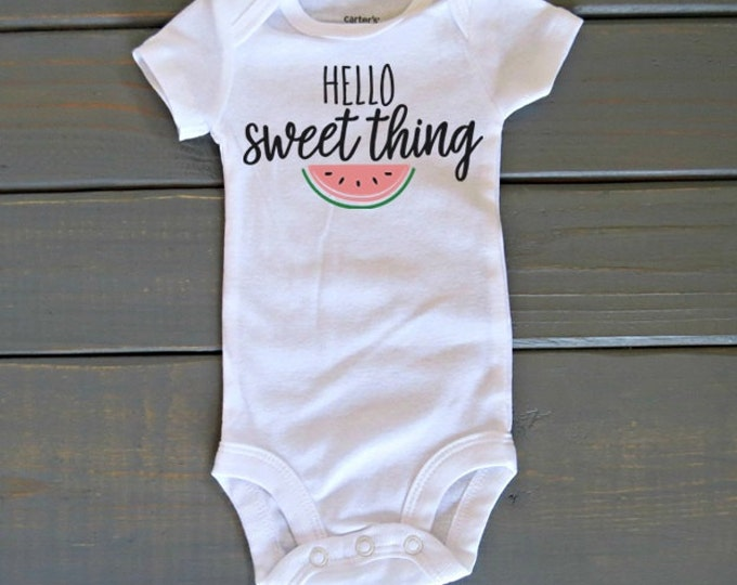 Hello Sweet Thing Bodysuit, Cute Baby Clothing, Baby Shower Gift, Girls' Tops