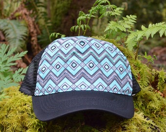 Handmade Snapback Hat featuring Chevrons and Embroidery.