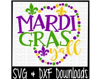 Mardi Gras SVG * Mardi Gras Y'all * Beads Cut File - SVG & DXF Files - Silhouette Cameo, Cricut