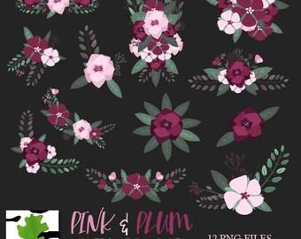 Pink Plum Floral Arrangements Bouquets Winter Autumn Clipart