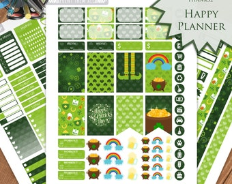 St Patrick's Day Planner Stickers Printable, March Kit, HAPPY PLANNER, Monthly/Weekly Kit,Planner kit Happy Planner kit, Instant download