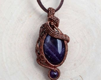 "Amethyst ""Ancient Royalty"" Wire Wrapped Necklace // Amethyst Wrapped With Oxidized Copper Wire Pendant"