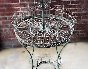Antique Iron Garden Wire Plant Stand , Vintage /Rustic Wedding Cupcake Stand,Vintage Garden Decor , Wrought Iron Plant Stand