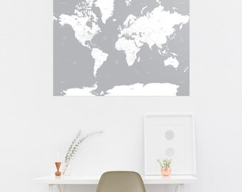 White & Grey A1 Shabby Chic Map of the World Print Wall Art Home Decor High Quality Poster