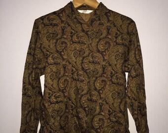 Vintage Burberrys Button Up Blouse Shirt Paisley Design