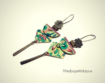 long earrings elegant, lotus Japanese inspired