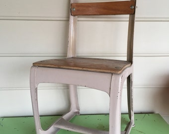 Vintage Envoy Child's Metal and Wood School Chair Number 13 American Seating Co Grand Rapids Michigan Retro Playroom Decor Home Decor