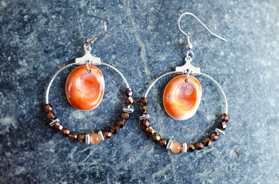 Creole SARRAN dark bronze - Earring hoops creole with Eye of Santa Lucia and glass faceted round beads