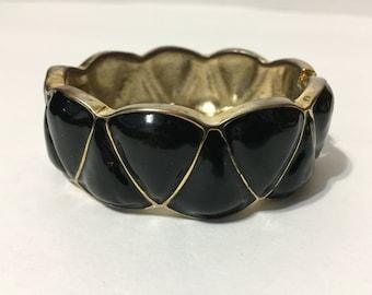 Gold Tone Bracelet - Black - Cuff - Gold Jewelry - Black Bracelet