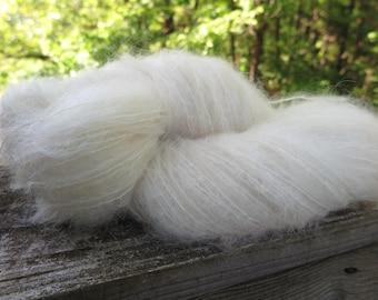 Undyed Mohair Worsted Weight yarn, bare yarn, dyeable yarn