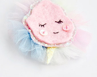 Cotton Candy Glitter Felt Tulle Hair Clip