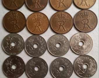 24 denmark vintage coins 1963 - 1987 - coin lot ore - world foreign collector money numismatic a88