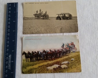 2 antique postcards harvest farm combine equipment judith basin 1909 - 1913 - farming pictures vintage machinery threshing horses tractor