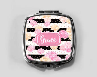 Personalized Mirror Case - Peonies - Compact Mirror Case Gifts for Her Monogrammed Gifts Perfect Spring Accessory