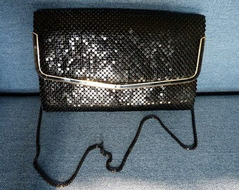SALE Vintage Women Bag on Chain Black Elegant Clutch Beautiful Bag with Metal Sequins Evening Purse Women Vintage Crossbody Black Shining