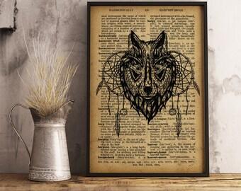Tribal Wolf Print Geometric Tribal Art, Woodland Animals Art, Bedroom rustic decor, Tribal Animal Print, Native American  (D15)