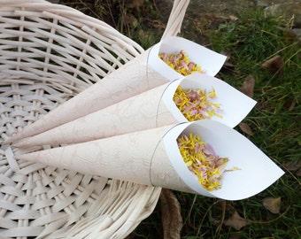 Confetti cones, Custom Petal toss cones, Wedding confetti holders, Vintage or Rustic style party decor, Personalized petal toss cones