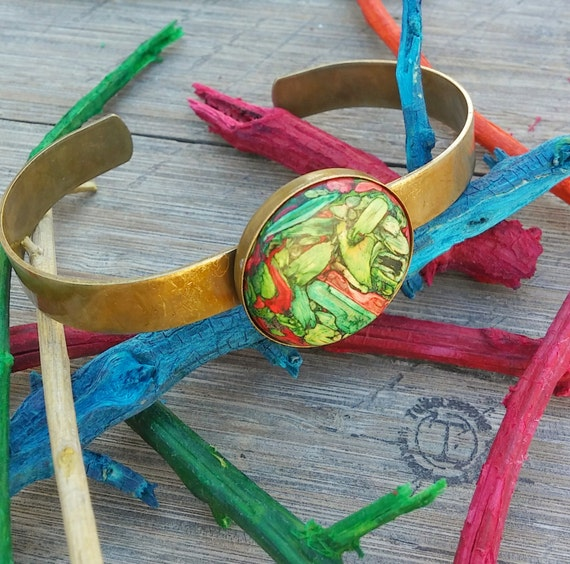 Antique Brass Tumbleweed Cuff Bracelet