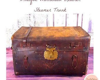Antique Warranted Leather Steamer Trunk / Vintage Trunk / Vintage Chest / Storage / Vintage Style