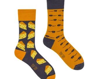 Mouse e formaggio calzini | calze uomo | calzini variopinti | fresco di calzini | malassortiti calzini | Womens calze | calzini pazzi | calze fantasia